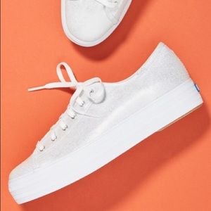 Brand new platform Keds sneakers in shiny silver